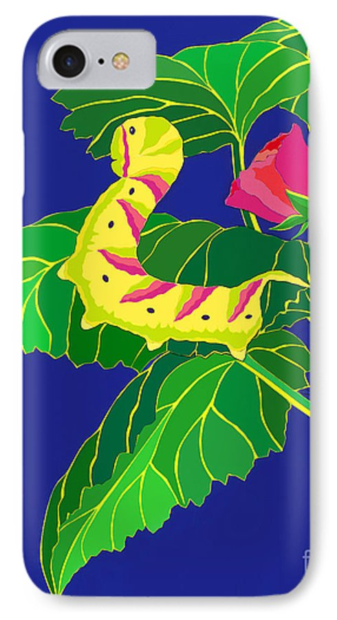 Nature IPhone 7 Case featuring the drawing Caterpillar by Lucyna A M Green