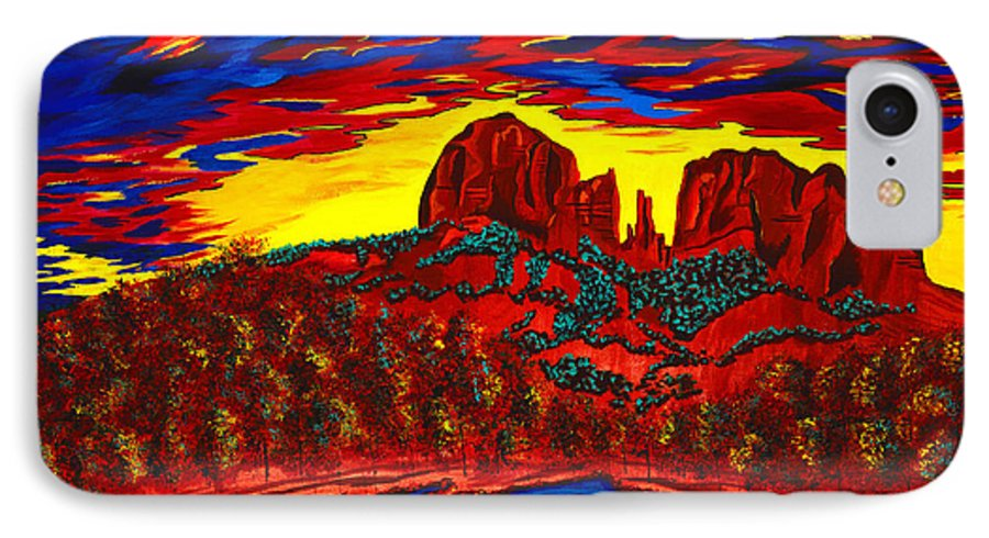 Red Rock Crossing IPhone 7 Case featuring the painting Cathedral Magic by Clark Sheppard