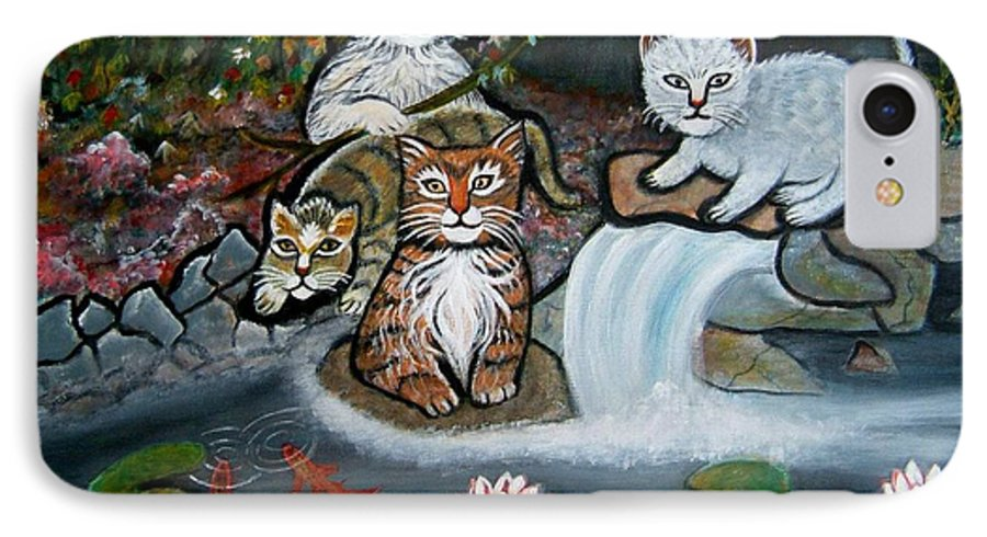 Acrylic Art Landscape Cats Animals Figurative Waterfall Fish Trees IPhone 7 Case featuring the painting Cats In The Wild by Manjiri Kanvinde