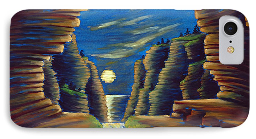 Cave IPhone 7 Case featuring the painting Cave With Cliffs by Jennifer McDuffie