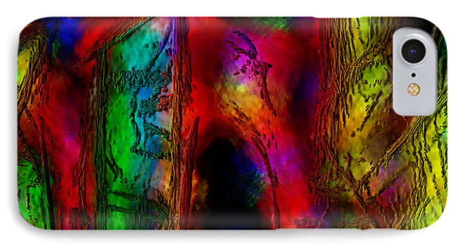 Abstract IPhone 7 Case featuring the painting Caverns Of The Mind by Dee Flouton