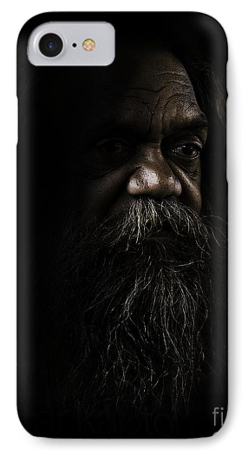 Fullblood Aborigine IPhone 7 Case featuring the photograph Cedric In Shadows by Sheila Smart Fine Art Photography