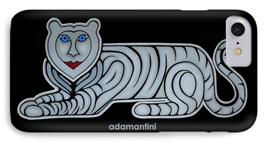 Celestial IPhone 7 Case featuring the painting Celestial big white tiger woman by Adamantini Feng shui