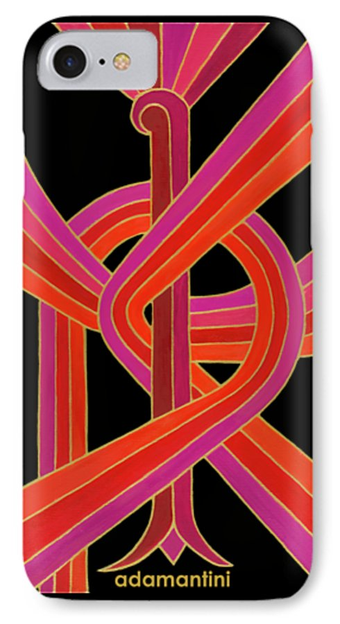 Phoenix IPhone 7 Case featuring the painting Celestial Vermillion Bird by Adamantini Feng shui