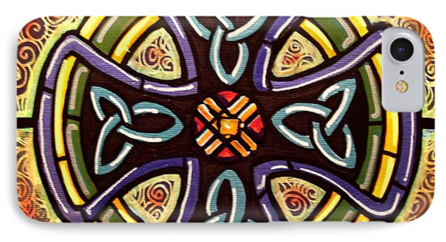 Celtic IPhone 7 Case featuring the painting Celtic Cross 2 by Jim Harris