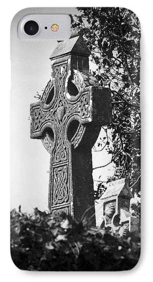 Celtic IPhone 7 Case featuring the photograph Celtic Cross At Fuerty Cemetery Roscommon Ireland by Teresa Mucha