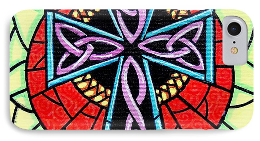 Celtic IPhone 7 Case featuring the painting Celtic Cross by Jim Harris