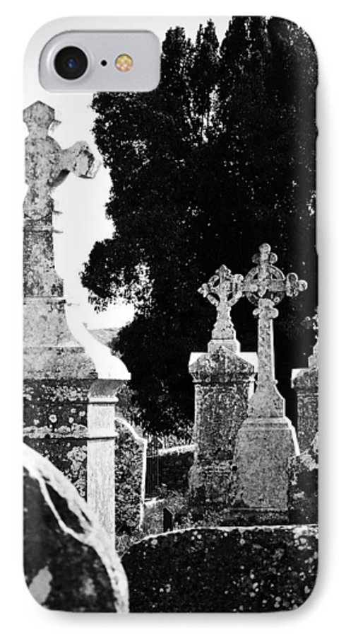 Celtic IPhone 7 Case featuring the photograph Celtic Crosses At Fuerty Cemetery Roscommon Ireland by Teresa Mucha