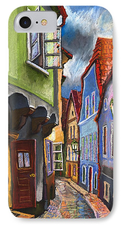 Pastel Chesky Krumlov Old Street Architectur IPhone 7 Case featuring the painting Cesky Krumlov Old Street 1 by Yuriy Shevchuk