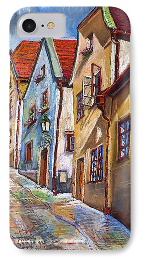 Pastel Chesky Krumlov Old Street Architectur IPhone 7 Case featuring the painting Cesky Krumlov Old Street 2 by Yuriy Shevchuk