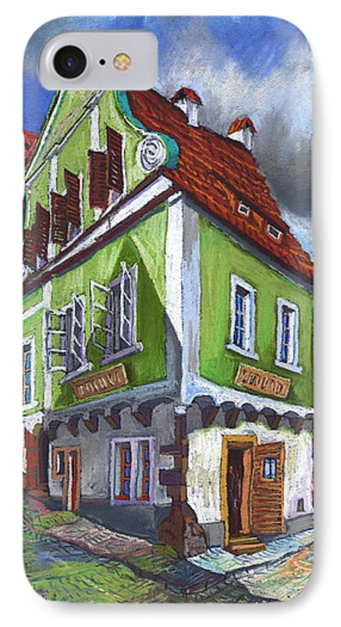 Pastel Chesky Krumlov Old Street Cityscape Realism Architectur IPhone 7 Case featuring the painting Cesky Krumlov Old Street 3 by Yuriy Shevchuk