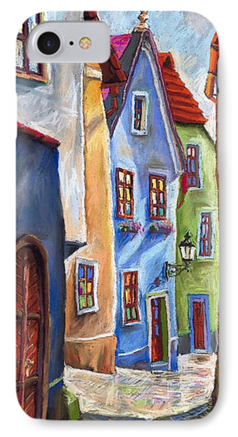 Cityscape IPhone 7 Case featuring the painting Cesky Krumlov Old Street by Yuriy Shevchuk