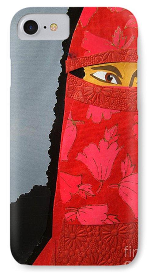 Woman IPhone 7 Case featuring the mixed media Chador by Debra Bretton Robinson