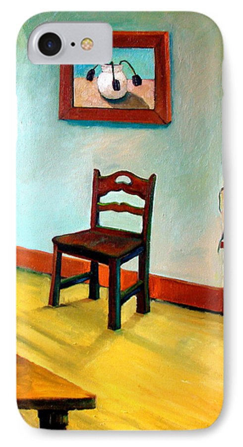 Apartment IPhone 7 Case featuring the painting Chair And Pears Interior by Michelle Calkins
