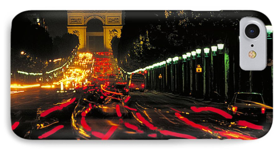 France IPhone 7 Case featuring the photograph Champs Elysee In Paris by Carl Purcell