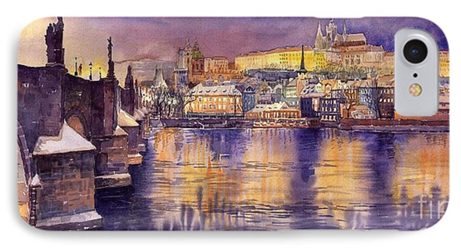Cityscape IPhone 7 Case featuring the painting Charles Bridge And Prague Castle With The Vltava River by Yuriy Shevchuk