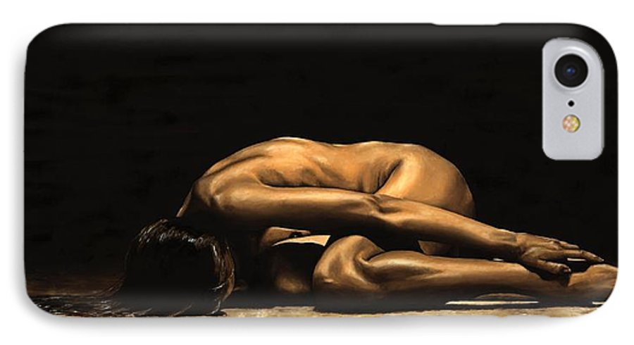 Nude IPhone 7 Case featuring the painting Chastity by Richard Young