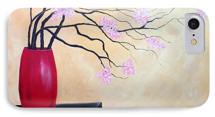 Oriental IPhone 7 Case featuring the painting Cherry Blossoms by Susan Kubes