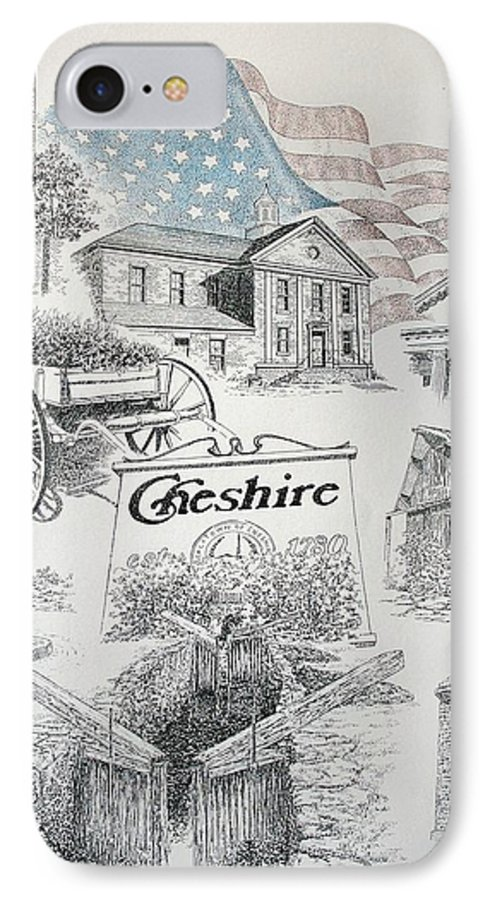 Connecticut Cheshire Ct Historical Poster Architecture Buildings New England IPhone 7 Case featuring the drawing Cheshire Historical by Tony Ruggiero