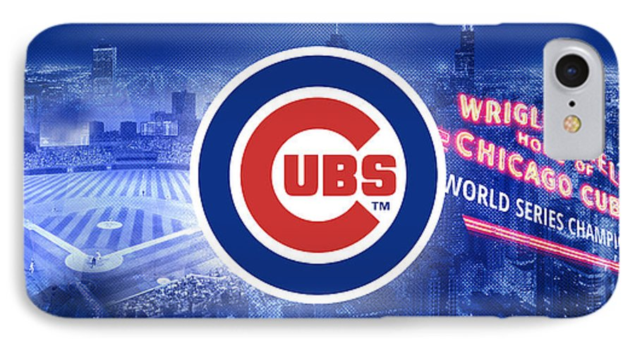 Chicago IPhone 7 Case featuring the digital art Chicago Cubs Baseball by Nicholas Legault