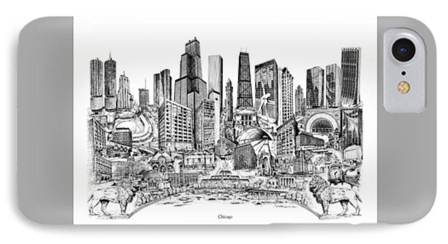 City Drawing IPhone 7 Case featuring the drawing Chicago by Dennis Bivens