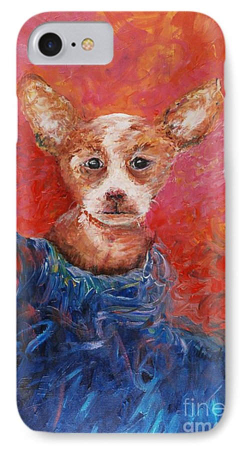 Dog IPhone 7 Case featuring the painting Chihuahua Blues by Nadine Rippelmeyer