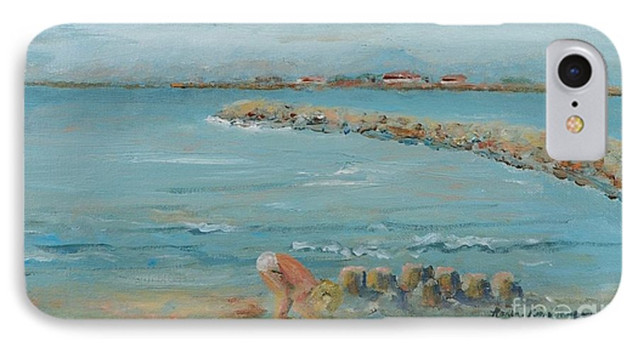 Beach IPhone 7 Case featuring the painting Child Playing At Provence Beach by Nadine Rippelmeyer