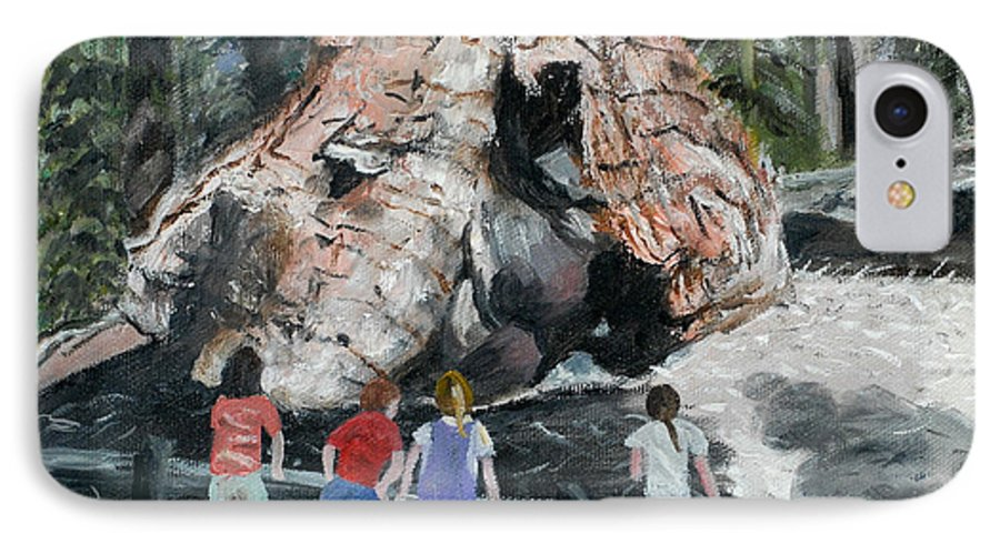 Children IPhone 7 Case featuring the painting Children At Sequoia National Park by Quwatha Valentine