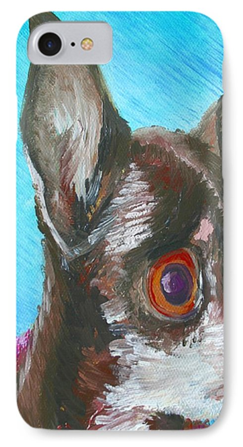 Dog IPhone 7 Case featuring the painting Chili Chihuahua by Minaz Jantz