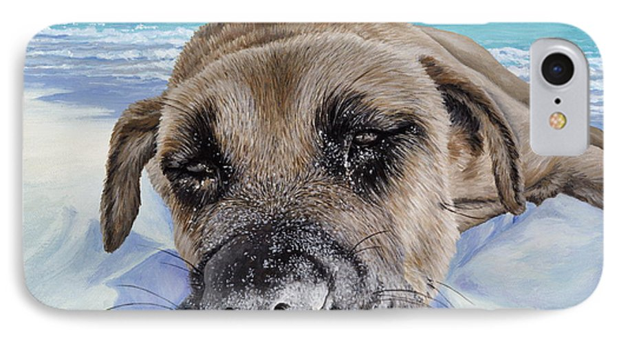Pet Portrait IPhone 7 Case featuring the painting Chillin In Briland by Danielle Perry