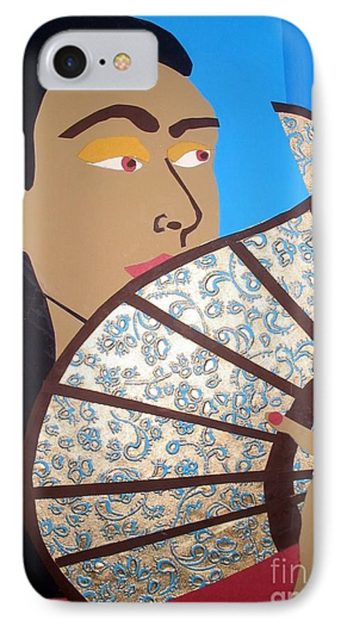 Chinese IPhone 7 Case featuring the mixed media Chinese Fan by Debra Bretton Robinson