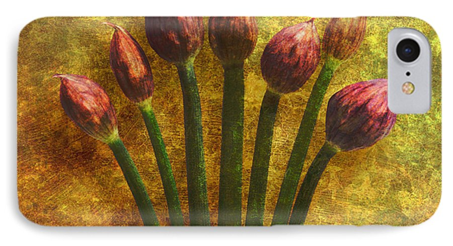 Texture IPhone 7 Case featuring the digital art Chives Buds by Digital Crafts
