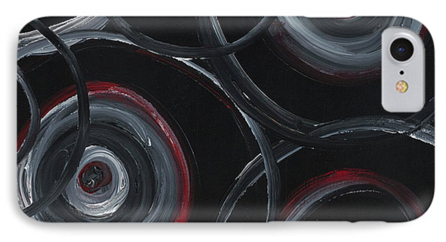 Circles IPhone 7 Case featuring the painting Choices In Black by Nadine Rippelmeyer