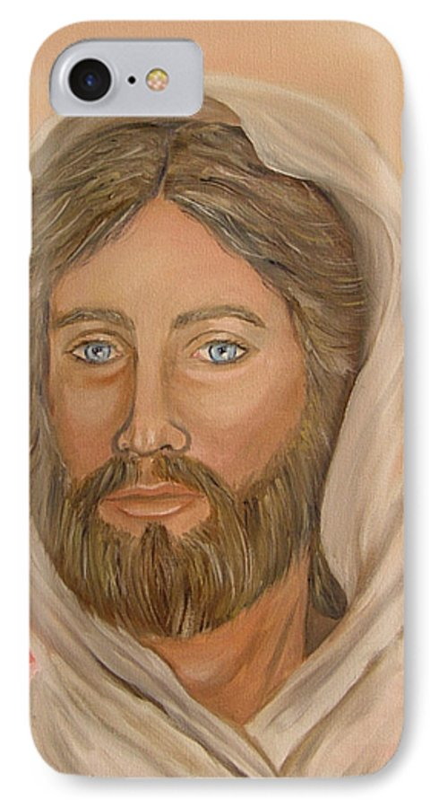 Christ IPhone 7 Case featuring the painting Christ by Quwatha Valentine