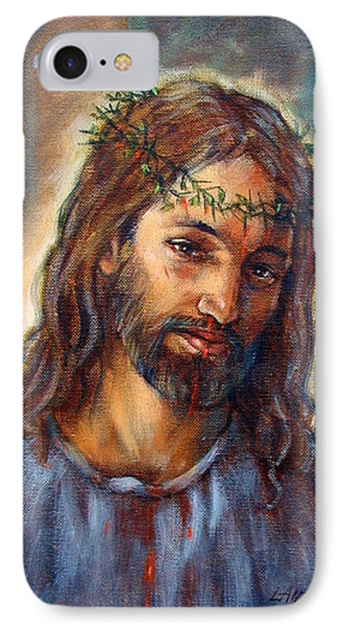 Christ IPhone 7 Case featuring the painting Christ With Thorns by John Lautermilch