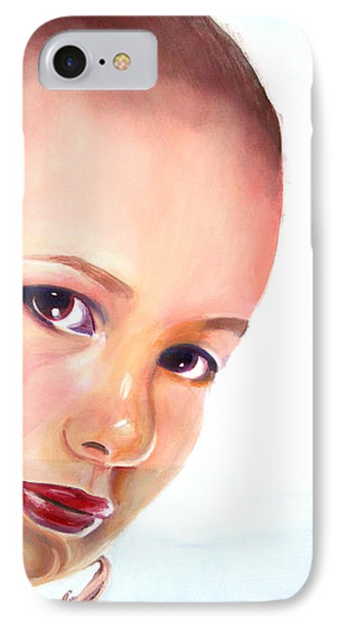 Portrait IPhone 7 Case featuring the painting Christine by Fiona Jack