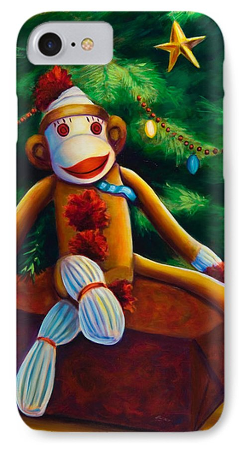 Sock Monkey IPhone 7 Case featuring the painting Christmas Made Of Sockies by Shannon Grissom