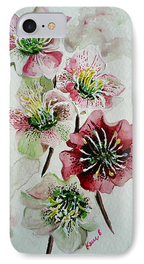Floral Flower Pink IPhone 7 Case featuring the painting Christmas Rose by Karin Dawn Kelshall- Best