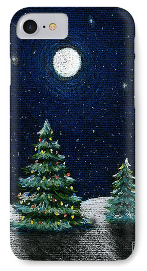 Christmas Trees IPhone 7 Case featuring the drawing Christmas Trees In The Moonlight by Nancy Mueller