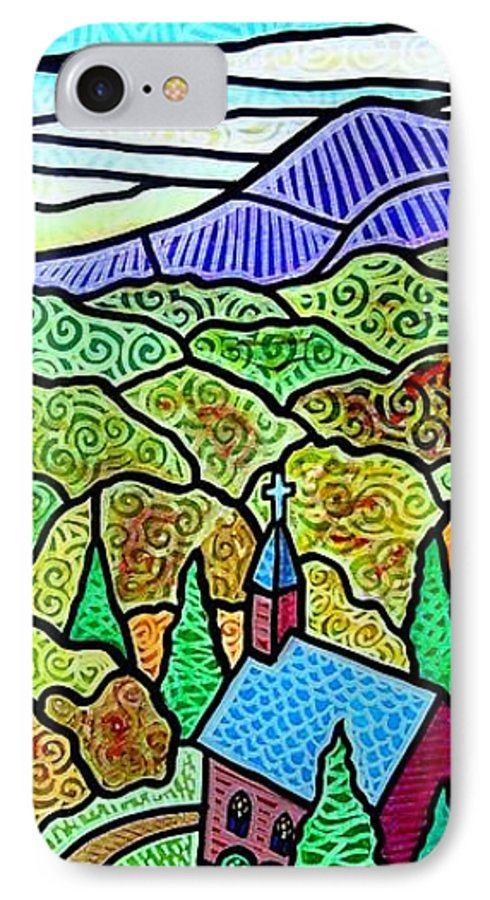 Church IPhone 7 Case featuring the painting Church In The Wildwood by Jim Harris