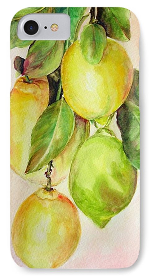 Still Life IPhone 7 Case featuring the painting Citrons by Muriel Dolemieux