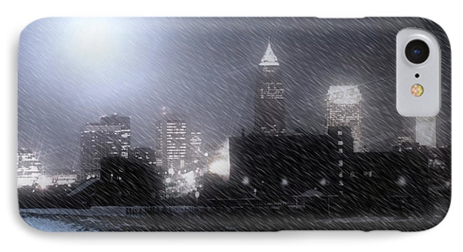 Cleveland IPhone 7 Case featuring the photograph City Bathed In Winter by Kenneth Krolikowski