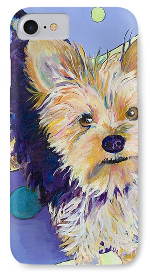 Pet Portraits IPhone 7 Case featuring the painting Claire by Pat Saunders-White