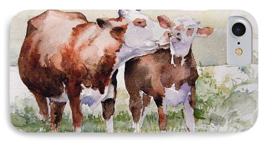 Cows IPhone 7 Case featuring the painting Clean Behind The Ears by Debra Jones
