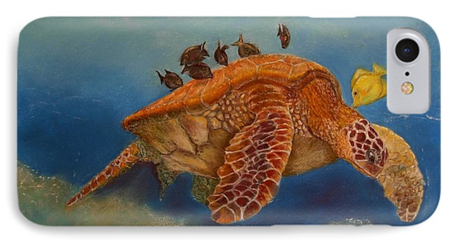 Turtle IPhone 7 Case featuring the painting Cleaning Station by Ceci Watson