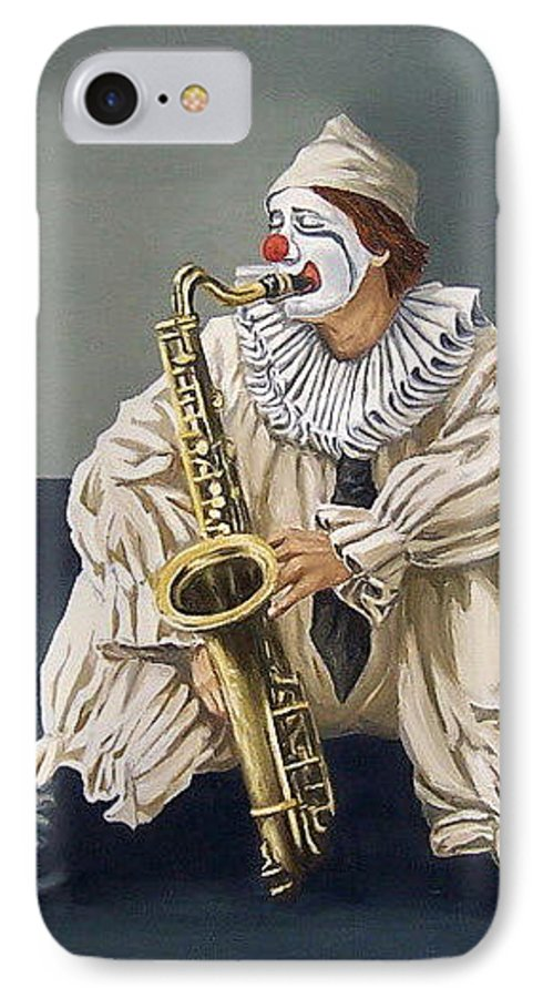 Clown Figurative Portrait People IPhone 7 Case featuring the painting Clown by Natalia Tejera