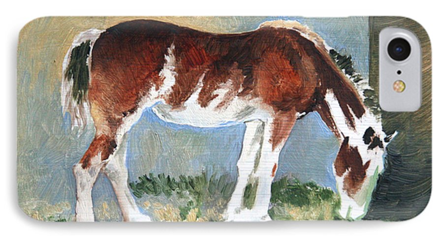 Horse IPhone 7 Case featuring the painting Clydesdale Colt Pad by Eileen Hale