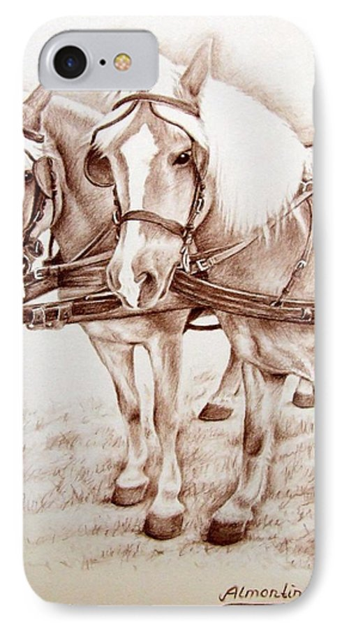 Horses IPhone 7 Case featuring the drawing Coach Horses by Nicole Zeug