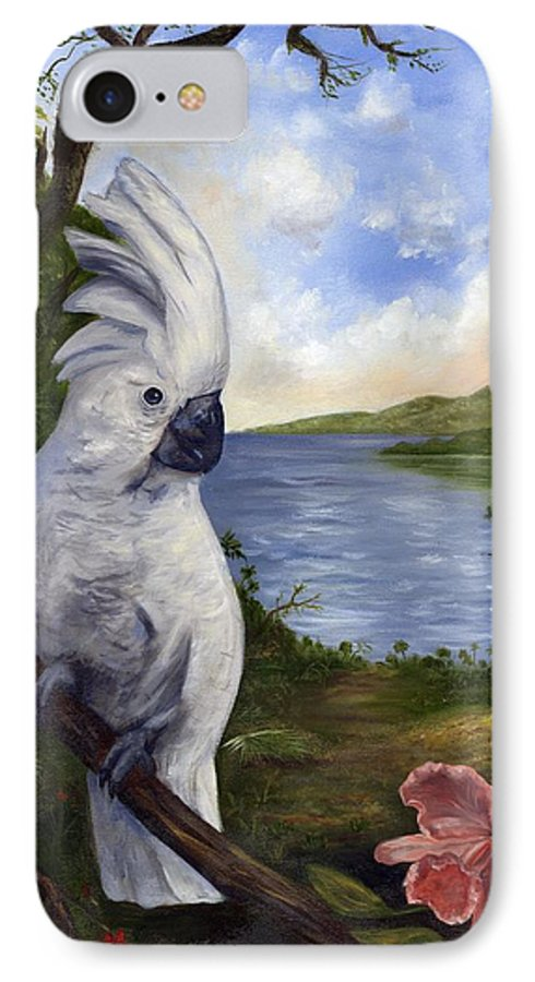 Landscape IPhone 7 Case featuring the painting Cockatoo And Orchid by Anne Kushnick