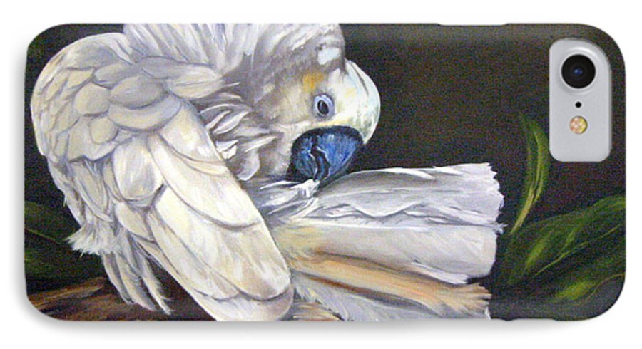 Birds IPhone 7 Case featuring the painting Cockatoo Preening by Anne Kushnick